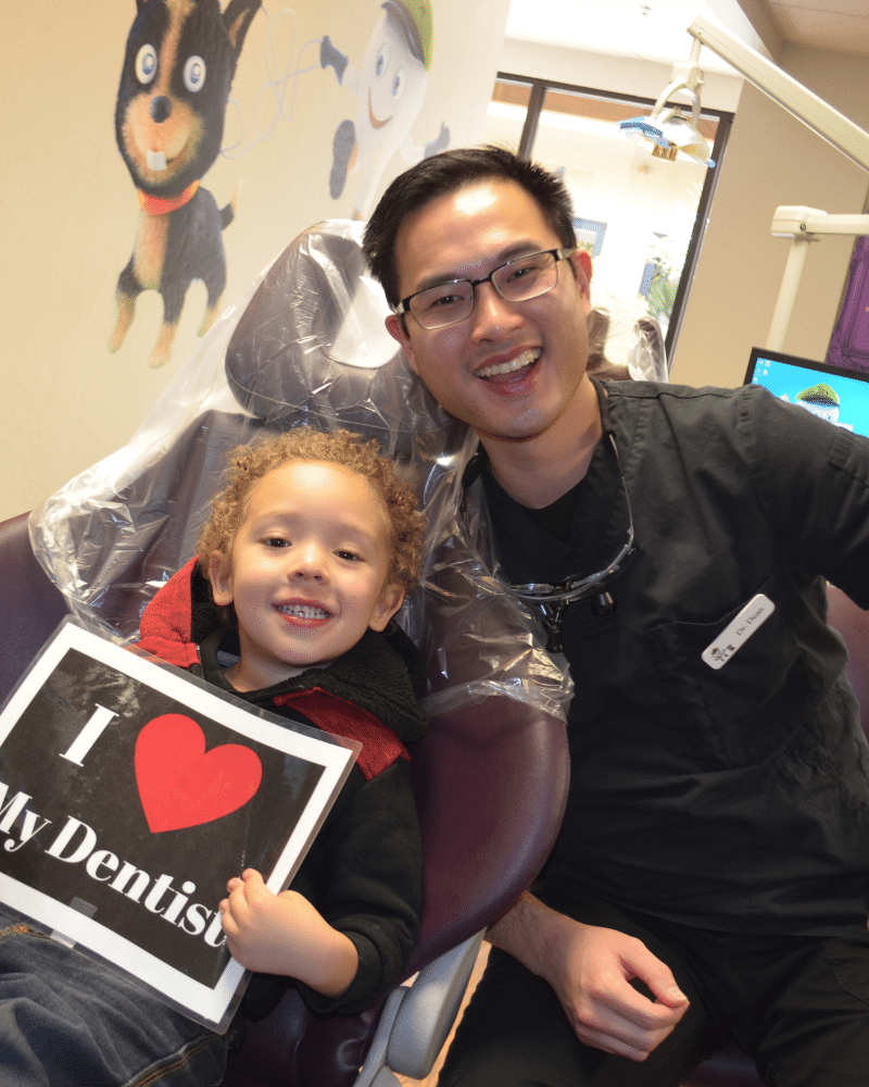 Dr. Dean has fun with his patients as a kids dentist